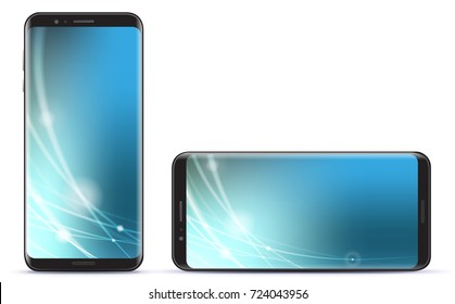 Vertical and Horizontal Smart Phone Vector Illustration With Blue Technology Screen.