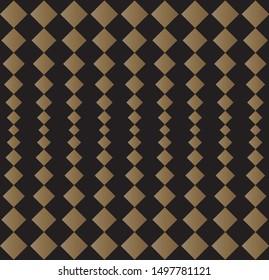 Vertical illusion diagonal square line pattern vector. Abstract design chandelier gold on black. Design print for illustration, texture, wallpaper, textile, background. Set 3