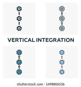 Vertical Integration icon set. Four elements in different styles from industry 4 icons collection. Creative vertical integration icons filled, outline, colored and flat symbols.
