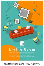 vertical Interior banner sale with living room furniture hovering on colorful background , vector , illustration