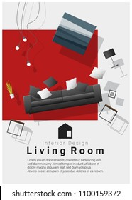 vertical Interior banner sale with living room furniture hovering on colorful background , vector , illustration