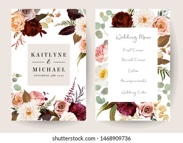 Vertical label baroque frames of leaves and flowers. Rust orange rose, dahlia, peony, ranunculus, burgundy astilbe, fern, eucalyptus vector design. Masterpiece style.Autumn cards.Isolated and editable