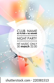 Vertical light  blue music party background with colorful graphic elements and place for text.  Vector illustration.