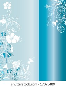 Vertical light blue and silver background pattern with floral ornaments