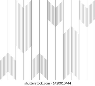 Vertical lines with chevron. Design random black on white background. Design print for pattern, textile, wallpaper, background, illustration. Set 1