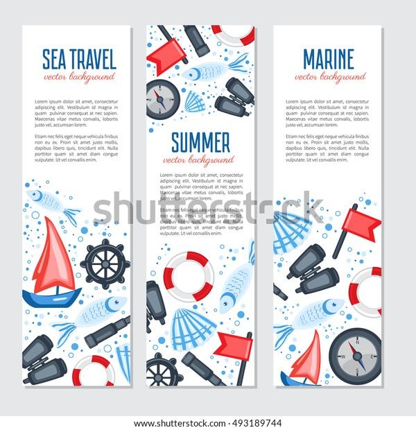 Vertical marine vector banner, cartoon illustration, Red flag, steering wheel, compass, ship, seashell, fish, binoculars, spyglass isolated on white background, design for advertising travel, invite