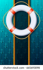 Vertical maritime background with a life buoy. Vector illustration.