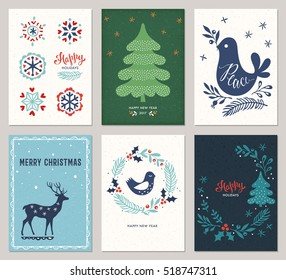 Vertical Merry Christmas and Happy Holidays cards with New Year tree, deer, decorative snowflakes, peace dove, bird andwreath on the texture backgrounds. Vector illustration.
