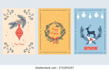 Vertical Merry Christmas and Happy Winter Holidays Cards with Fir Tree Branches, Deer and Tree Ornamental Ball Vector Set.