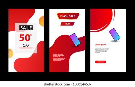 Vertical modern fluid template design background with gradient red, black and vibrant violet color for sale promotion. Suitable for social media stories, story, web banner, flyer, poster and brochure.