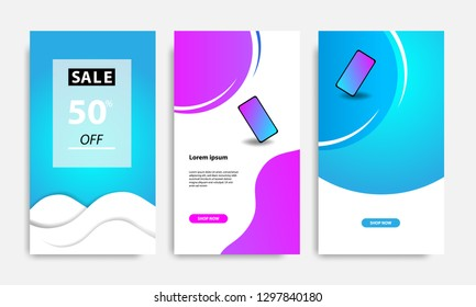 Vertical modern futuristic background template with gradient blue, pink, purple gradation for promotional page. Suitable for social media stories, story, internet web banner, flyer and brochure.