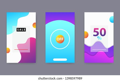 Vertical modern wave fluid background template with gradient blue, pink, red purple gradation for promotional. Suitable for social media stories, internet web banner, flyer,poster and brochure.