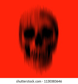 Vertical motion blur smear vector black skull isolated on red background.