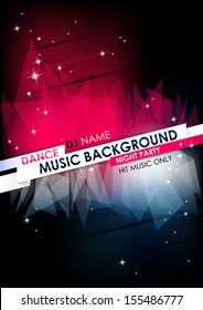Vertical music background with stars and place for text.  Vector version.