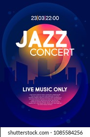 Vertical music jazz background with silhouette of city, color graphic elements and text. Vector illustration.