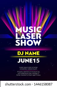 Vertical music laser show poster with bright color graphic elements, dark background and text.  Vector illustration.