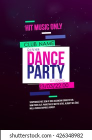 Vertical music party background with bright graphic elements and text.  Vector illustration.