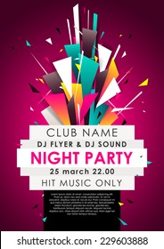 Vertical music party background with colorful graphic elements and place for text.  Vector illustration.