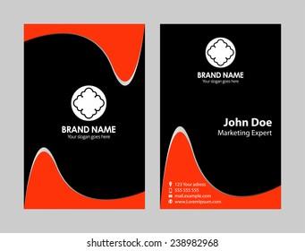Vertical orange black Business Card