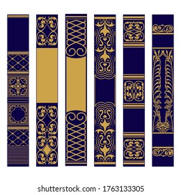 Vertical ornament set. Samples of spines or roots of the book. Ornate gold and blue pattern. Vector illustration