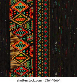 Vertical ornamental seamless pattern. Dark ethnic backdrop. Mexican, american, indian style.
