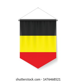 Vertical Pennant Flag of Belgium as Icon on White with Shadow Effects. Patriotic Sign in Official Color and Flower Belgian Flag with Metallic Poles Hanging on the Rope