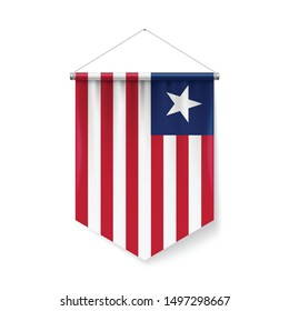 Vertical Pennant Flag of Liberia as Icon on White with Shadow Effects. Patriotic Sign in Official Color and Flower, Liberian Flag with Metallic Poles Hanging on the Rope