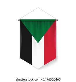 Vertical Pennant Flag of Sudan as Icon on White with Shadow Effects. Patriotic Sign in Official Color and Flower Sudanese Flag with Metallic Poles Hanging on the Rope