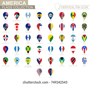 Vertical pin icon, America flag collection.