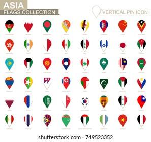 Vertical pin icon, Asia flag collection.