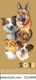 Vertical postcard with dogs of different breeds (german shepherd, Sheltie; toy Terrier; papillon; border collie) on beige background. 2018 year of dog.