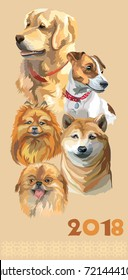 Vertical postcard with dogs of different breeds (golden retriever; small pomeranian; Pekingese, jack Russel terrier, shiba Inu) on beige background. 2018 year of dog.