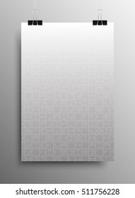 Vertical Poster Banner A4 Sized Vector Paper Clips. Grey Puzzle Pieces Arranged in a Square - Vector Illustration. Jigsaw Puzzle Blank Template or Cutting Guideline. Vector Background.