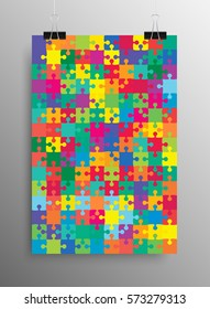Vertical Poster Banner A4 Sized Vector Paper Clips. Many-colored Puzzle Pieces Arranged in a Rectangle - Vector Illustration. Jigsaw Puzzle Blank Template or Cutting Guideline.