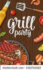 Vertical poster with bbq. Grill party calligraphic handwriting lettering. Shrimp, tomato, pepper, fish, sausage, chicken leg, steak. White and color vector vintage engraving illustration on dark