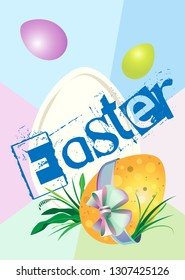 Vertical poster for the holiday of Easter. Spotted egg with a bow in the grass. Flying eggs in the top. Large inscription. Background with large rays of pastel color.