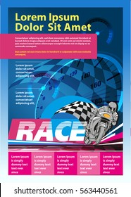 Vertical poster or print ads motorcycle racing event
