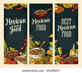 Vertical posters with Mexican traditional food and ingredient. Guacamole, Enchilada, Burrito, Tacos, Nachos, Chili. Vector vintage engraved illustration on dark background