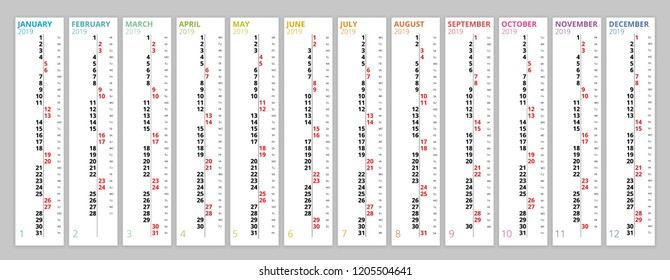 Vertical rainbow 2019 calendar vector, english language. 2019 Calendar of 12 Months.