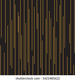 Vertical random of stripe pattern vector. Design drip line gold on black background. Design print for textile, wallpaper, background, illustartion.