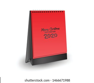 Vertical Realistic mockup  for Desk calendar 2020 template design, Blank desk calendar 3d mockup vector illustration, merry Christmas and happy new year 2020 Cover, calendar blank, red Background