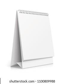 Vertical realistic paper calendar blank - stock vector.