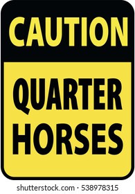 Vertical rectangular black and yellow warning sign of attention, prevention caution quarter horses. On Board Trailer Sticker Please Pass Carefully Adhesive. Safety Products.
