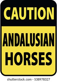 Vertical rectangular black and yellow warning sign of attention, prevention caution andalusian horses. On Board Trailer Sticker Please Pass Carefully Adhesive. Safety Products.