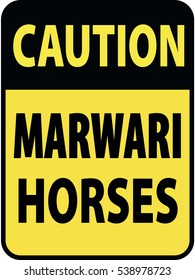 Vertical rectangular black and yellow warning sign of attention, prevention caution marwari horses. On Board Trailer Sticker Please Pass Carefully Adhesive. Safety Products.