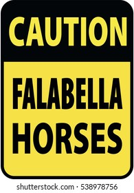 Vertical rectangular black and yellow warning sign of attention, prevention caution falabella horses. On Board Trailer Sticker Please Pass Carefully Adhesive. Safety Products.