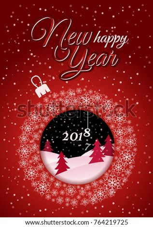 2e29f07663b Vertical red christmas card white christmas ball made of snowflakes with a  picture inside night jpg