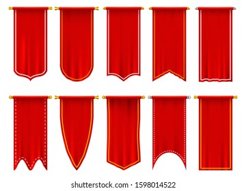 Vertical red flags or banners. Set of isolated realistic pennant. 3d hanging fabric on pole or spire. Blank or empty background for sport events, heraldic triangle and rectangle champion signs
