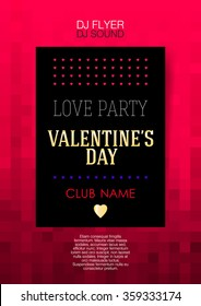 Vertical red music background with hearts and text.  Vector illustration.