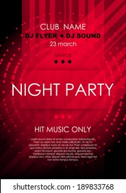 Vertical red music party background with lines, mosaic and place for text.  Vector version.